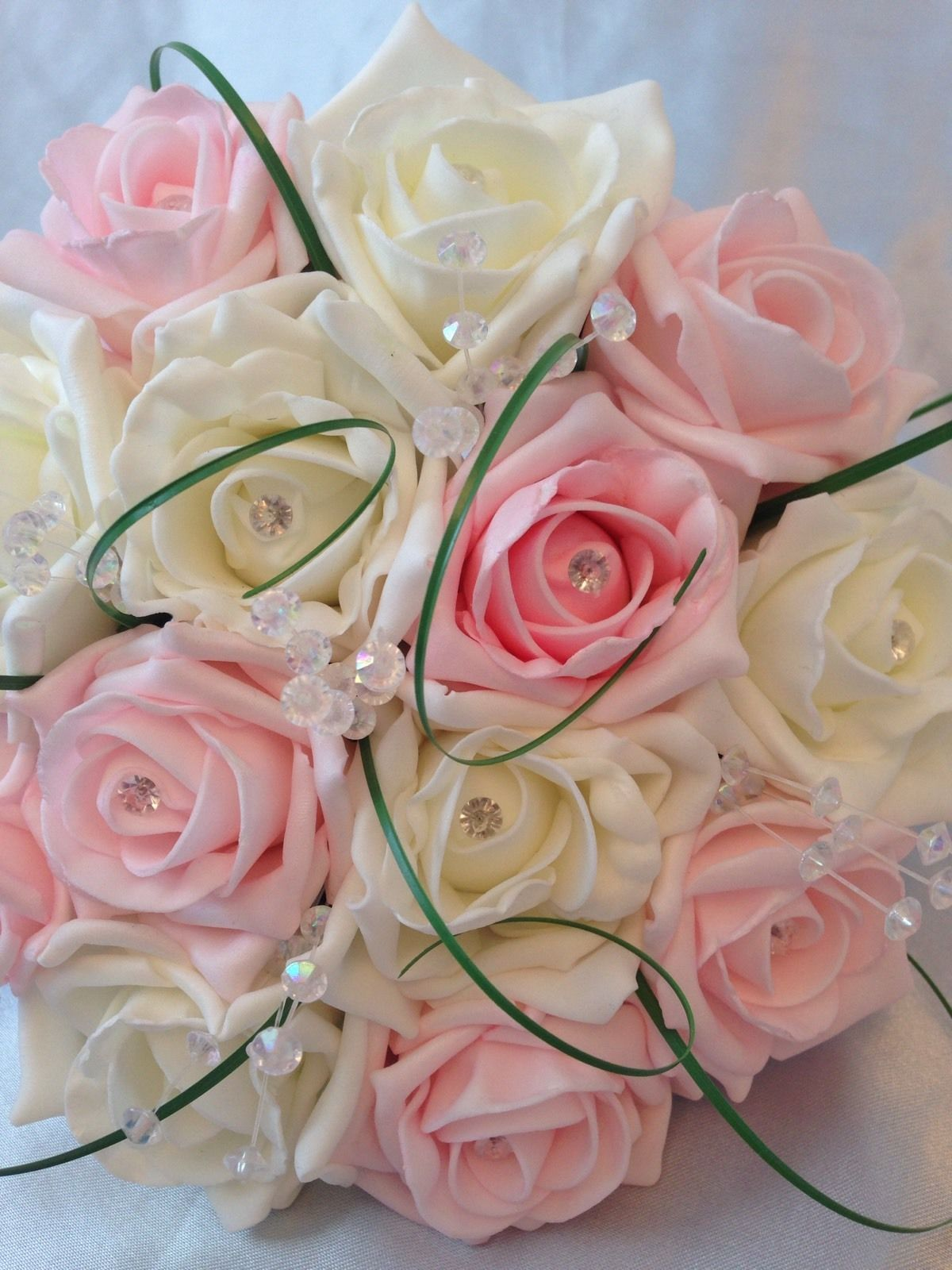 WEDDING FLOWERS ARTIFICIAL IVORY BABY PINK FOAM ROSE BRIDESMAID ...